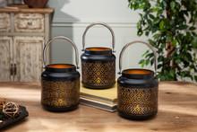 "2 Sets of 3 Black and Gold Round Metal Indoor/Outdoor Lantern 5""H - 6 Lanterns"
