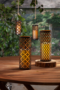 """Black and Gold Metal Indoor/Outdoor Lantern with Timer 10""""H - 4 Lanterns"""