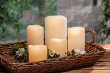 4 Sets of 5 Outdoor LED Bisque Resin Candles with Remote - 20 Pieces