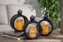 Set of 3 Black Round Metal Indoor/Outdoor Lantern with Print Design and Timer