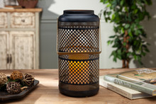 "Large Black Metal Indoor/Outdoor Lantern with Gold Interior and Timer 12""H - 4 Lanterns"