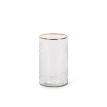"""Clear Glass Candle Holder with Etched Design and Gold Trim 7""""H - 4 Pieces"""