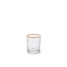 """Clear Glass Tea Light Candle Holder with Etched Design and Gold Trim 4""""H - 4 Pieces"""