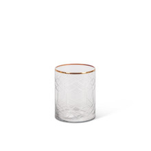 """Clear Glass Candle Holder with Etched Design and Gold Trim 5""""H - 6 Pieces"""