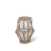 Large White and Gray Rattan Lantern with Glass Container Candle Holder - 4 Pieces