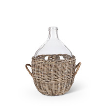 Large Glass Jar in Gray and White Basket - 2 Pieces