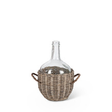 Medium Glass Jar in Gray and White Basket - 2 Pieces