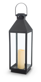 "Black Solar Lantern with Glass Panes 24""H"