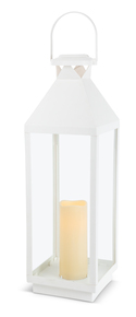 "White Solar Lantern with Glass Panes 24""H"