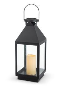 "Black Solar Lantern with Glass Panes 18""H - 2 Lanterns"