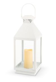 "White Solar Lantern with Glass Panes 18""H  - 2 Lanterns"