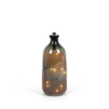 Large Handmade Glass Lighted Bottle with Gradual Sugar Finish - 2 Pieces