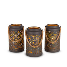 "2 Sets of 3 - Rustic Indoor/Outdoor Lantern with Edison Bulb and Gold Interior with Timer 8""H -  6 Pieces"