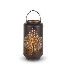 Brown Rustic Indoor/Outdoor Lantern with Leaf Pattern Design with Timer - 2 Lanterns