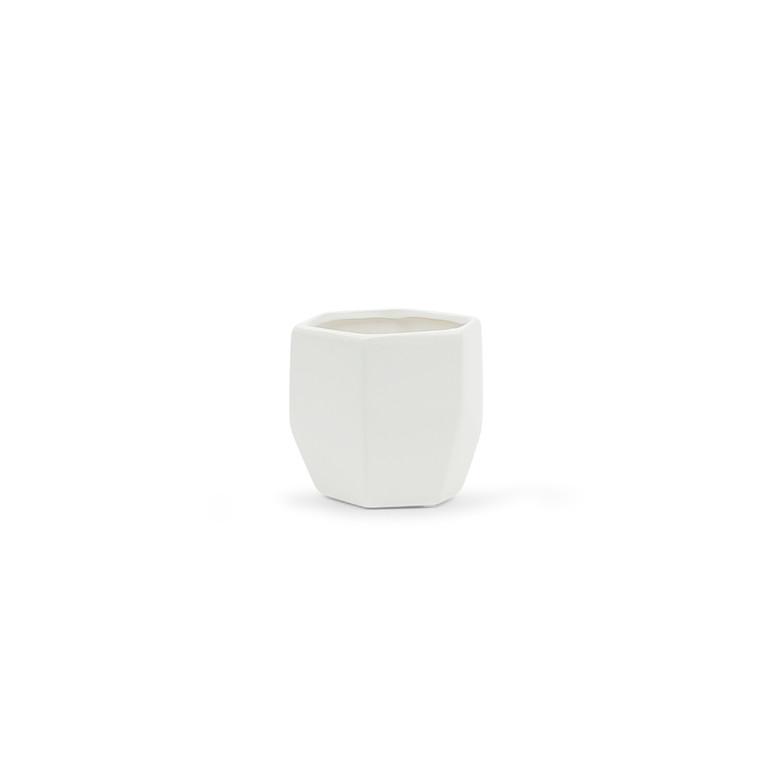 """4.2"""" x 4.2"""" Small Geometric Pot - Matte White"""