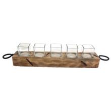 RING HANDLE WOOD/GLASS VOTIVE HOLDER
