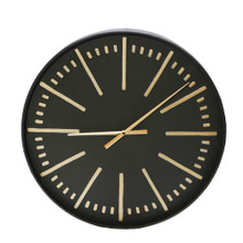 "METAL 24"" WALL CLOCK, BLACK/GOLD WB"