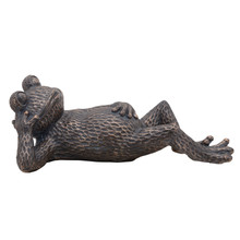 "RESIN, 20"" LAYING FROG, METALLIC BLUE"