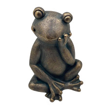 "RESIN, 16""H THINKING FROG, BLACK"