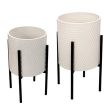 S/2 HONEYCOMB PLANTER ON METALSTAND, WHITE/BLK