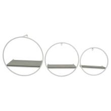 S/3 WOOD/METAL WALL SHELVES, GRAY/WHITE