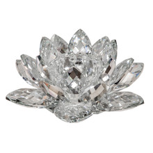 """SILVER CRYSTAL LOTUS CANDLE HOLDER 8.25"""""""