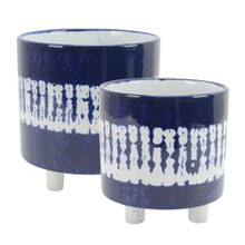S/2 CERAMIC FOOTED PLANTERS 9/6, WHITE/BLUE