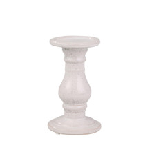 """CERAMIC 8"""" CANDLE HOLDER, WHITE SPECKLE"""