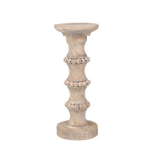 """WOODEN 13"""" BANDED BEAD CANDLE HOLDER"""