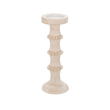 """WOOD, 13"""" ANTIQUE STYLE CANDLE HOLDER, WHITE"""