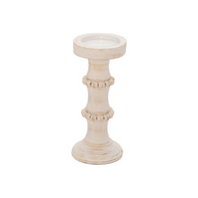 """WOOD, 11"""" ANTIQUE STYLE CANDLE HOLDER, WHITE"""