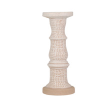 """CERAMIC 13"""" CANDLE HOLDER, WHITE / BROWN"""