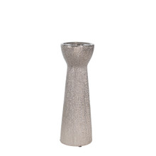 """CERAMIC 12"""" BEAD CANDLE HOLDER,SILVER"""