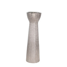 """CERAMIC 14"""" BEAD CANDLE HOLDER,SILVER"""