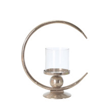 """ALUMINUM 17"""" RING CANDLE HOLDER W/GLASS, SILVER"""
