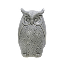 "CERAMIC 10"" OWL FIGURINE, GRAY"