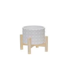 """6"""" CERAMIC DOTTED PLANTER W/ WOOD STAND, WHITE"""