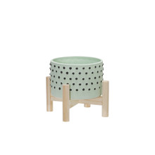 """6"""" CERAMIC DOTTED PLANTER W/ WOOD STAND, GREEN"""