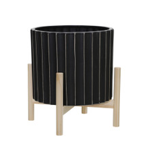 """12"""" CERAMIC FLUTED PLANTER W/ WOOD STAND, BLACK"""