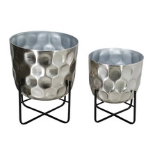 """S/2 METAL 12/15"""" HAMMERED PLANTER, SILVER"""