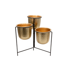 """METAL 20"""" HAMMERED PLANTER TRIO W/ STAND, GOLD"""