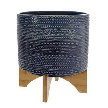 """11"""" DOTTED PLANTER W/ WOOD STAND, BLUE"""