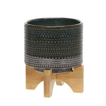 """6""""H DOTTED PLANTER W/ WOOD STAND, GREEN"""
