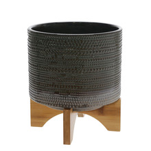 """8""""H DOTTED PLANTER W/ WOOD STAND, GREEN"""