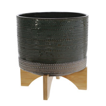 """11""""H DOTTED PLANTER W/ WOOD STAND, GREEN"""