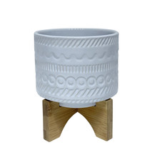 """6"""" TRIBAL PLANTER W/ WOOD STAND, WHITE"""