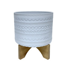 """8"""" TRIBAL PLANTER W/ WOOD STAND, WHITE"""