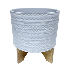 """11"""" TRIBAL PLANTER W/ WOOD STAND, WHITE"""