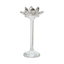 """GLASS 8"""" LOTUS CANDLE HOLDER, SILVER"""