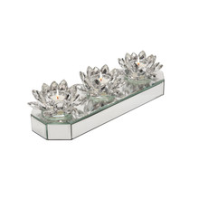"""GLASS 13"""" 3 LOTUS MIRRORED CANDLE HOLDER, SILVER"""